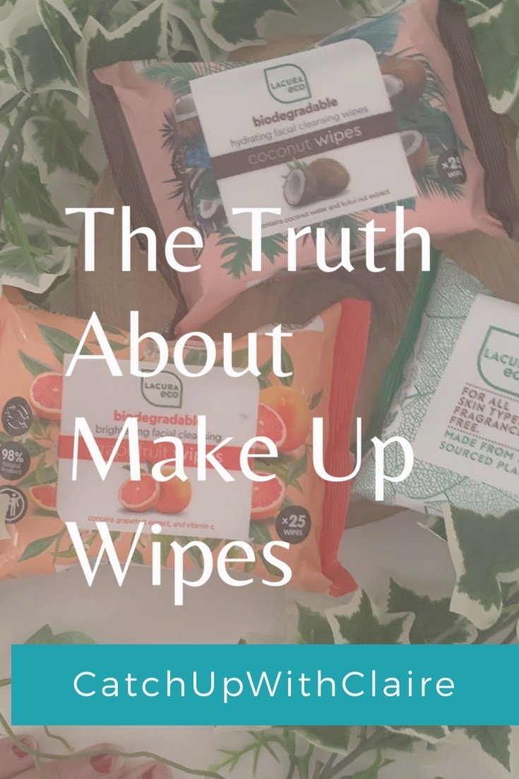 a text image saying the truth about make up wipes wit hazy packets of wipes in the back ground