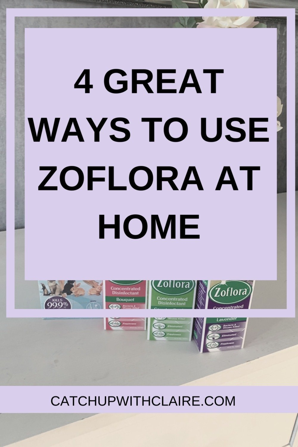 Text image in bold font which reads 4 great ways to use zoflora at home