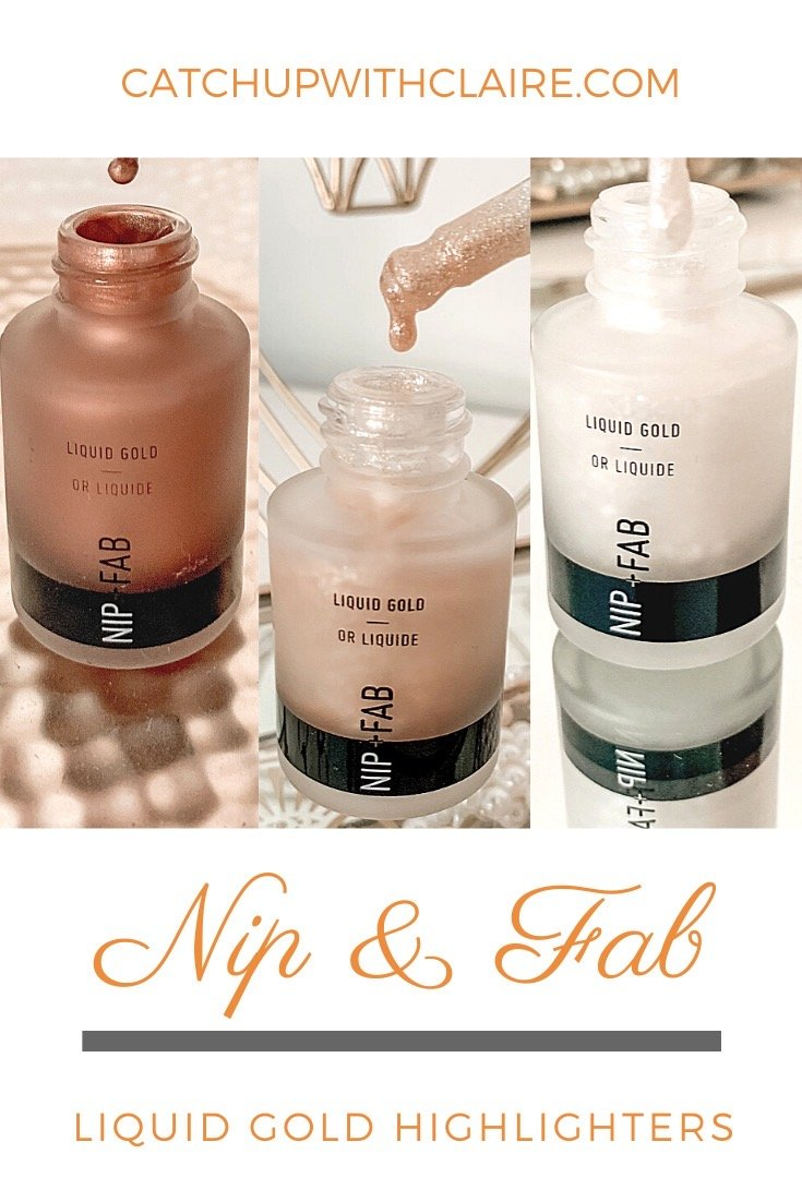 3 bottles of nip and fab liquid gold highlighter with text underneath which reads nip and fab liquid gold highlighter
