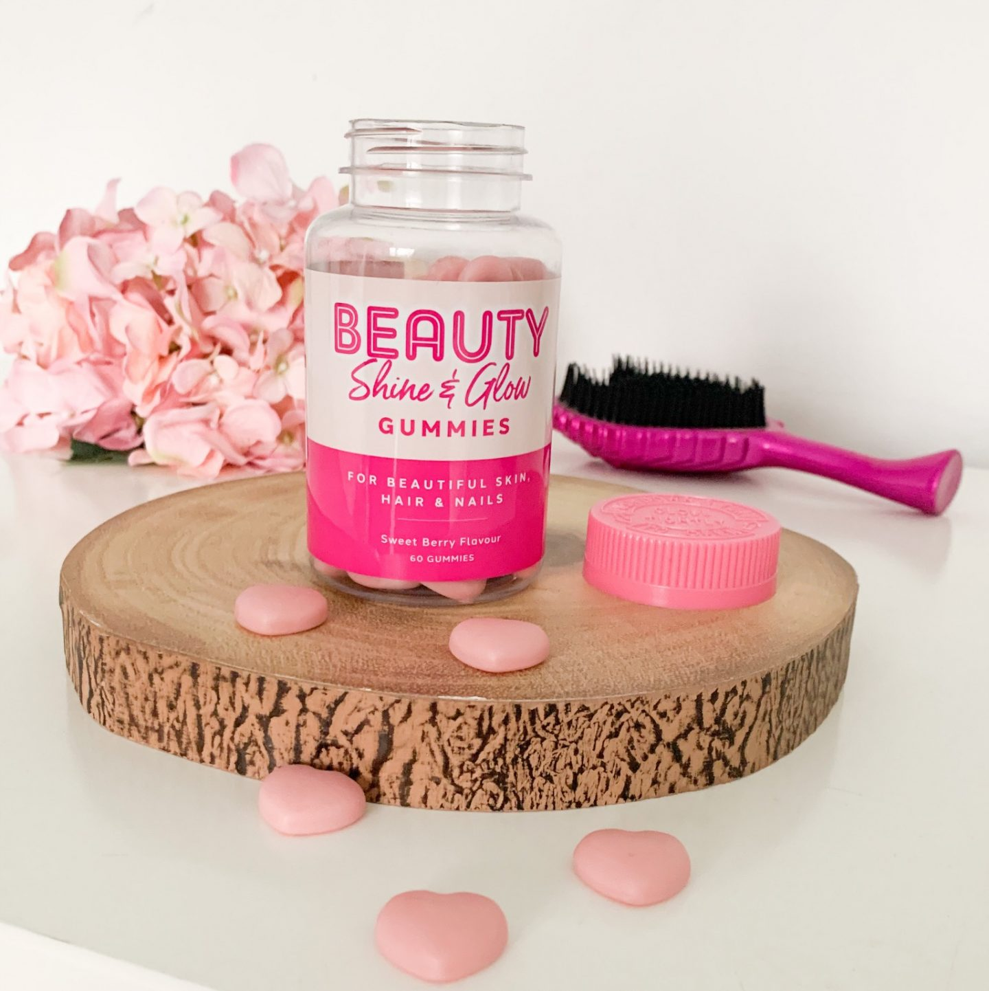 an open tub of Aldi beauty shine and glow supplements